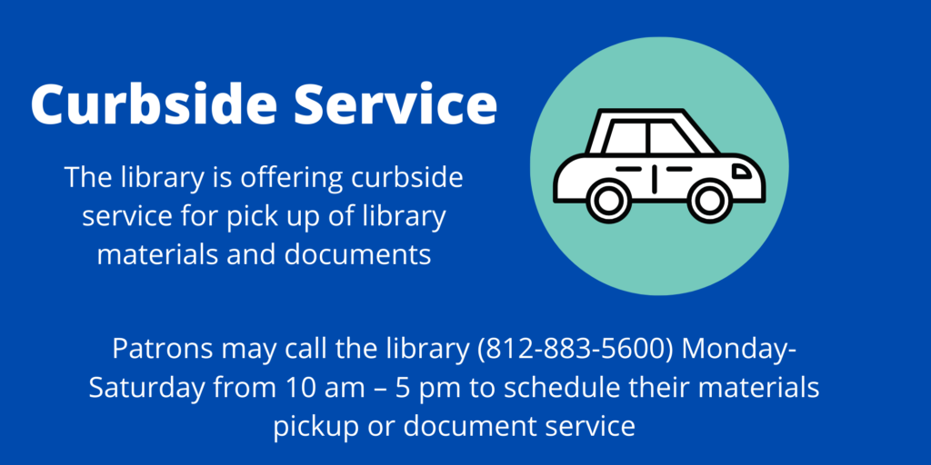 Infographic offering curbside service for library materials and document services