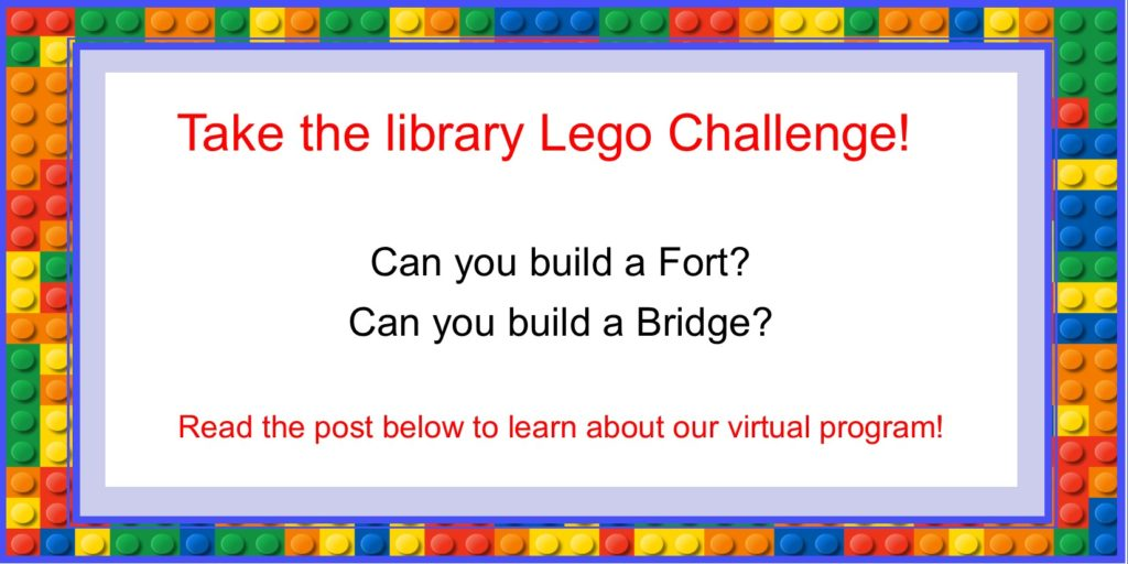 Info-graphic for children's programming titled The Library Lego Challenge. Read post below to learn about program