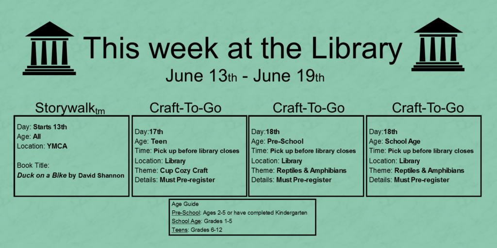"""This week at the library June thirteenth through June nineteenth. The Storywalk starts on the thirteenth at the YMCA. The book title is Duck on a Bike by David Shannon. A teen Craft To Go program can be picked up on the seventeenth. You must pre-register for this craft and pick it up before the library closes. The craft is for a cup cozy. On the eighteenth you can pick up Craft To Go kits for pre-school age and school age children. You must pre-register for both age groups and pick them up before the library closes. The theme is reptiles and amphibians. At the bottom of the page a box labeled """"Age guide"""" states that Pre-school is considered ages 2-5 or finished kindergarten. School age children are grades 1 through 5 and teens are grades 6 through 12"""