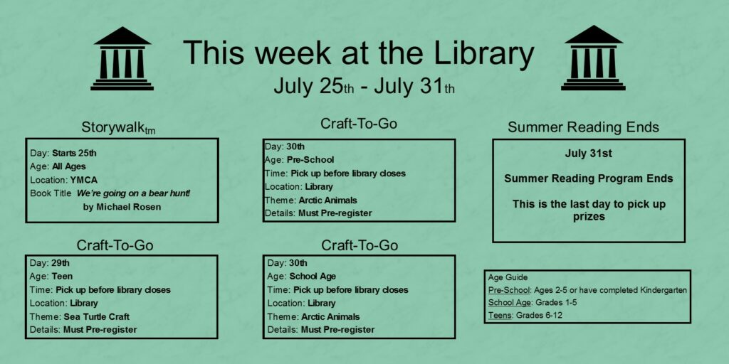 """This week at the library. July twenty fifth through thirty first. The Storywalk starts on the twenty-fifth at the YMCA. The book title is """"We're going on a bear hunt!"""" by Michael Rosen. On the twenty ninth you may pick up craft to go kits for teens. You must pre-register for the craft and you must pick it up before the library closes. It is a sea turtle craft. On July thirtieth you may pick up craft to go kits for preschool age and school age children. You must pre-register for both age groups and pick up the craft before the library closes. The theme is artic animals. On July thirty first the summer reading program ends, this is the last day to pick up your prizes.  At the bottom of the page a box labeled """"Age guide"""" states that Pre-school is considered ages 2-5 or finished kindergarten. School age children are grades 1 through 5 and teens are grades 6 through 12."""
